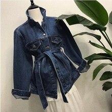 New Spring Women Elegant High Street Blue Denim Jakcet Turn-down collar Tie Waist Jeans