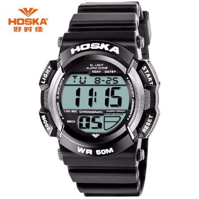 HOSKA Children Watches Big Size Digital Quartz Wristwatch Waterproof Electronic Multifunctional Boy Girl Leisure Student Watch
