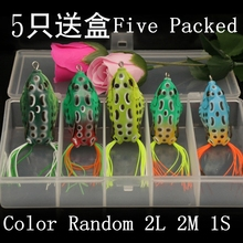 5Pcs/pack New Style Soft Toad Frogs Bass Fishing Lure Soft Plastic Hollow Fishing Lure Crank bait Hooks Wholesale