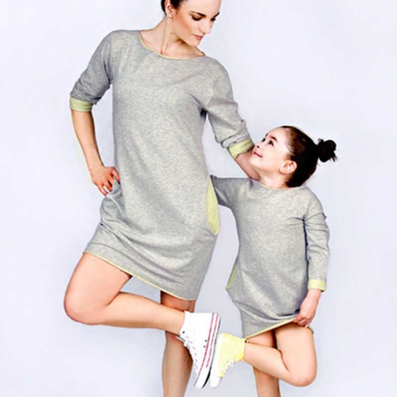 Mother Daughter Cotton Dresses Family Matching Outfits Summer Autumn Family Clothing Casual Mom And Daughter Long Sleeve Dress