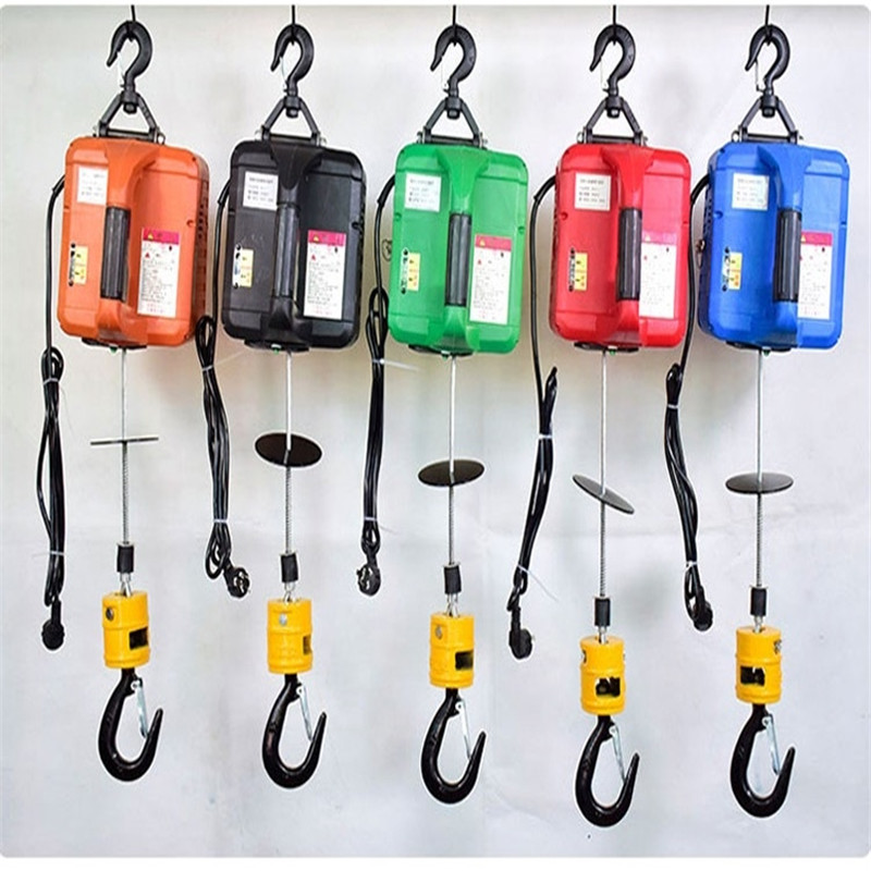 500KG Portable Electric Winch Hand Winch Traction Block Electric Steel Wire Rope Lifting Hoist Towing Rope