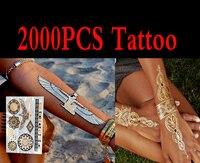 2000 шт. Высокое качество золото синий Временные татуировки Средства ухода за кожей Книги по искусству металлик серебристый металлик татуиро