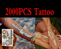 2000pcs High Quality Gold Blue Temporary Tattoo Body Art Metallic Silver Metallic Tattoos Gold Wholesale Foil Golden Jewelry
