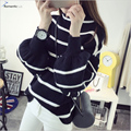 Romantichut Korean Style Women Coat Knit Striped Long Puff Sleeve Sweater Fashion Winter Casual Pullovers Sweater Slim Outerwear