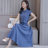Korean 2019 Summer Short Sleeve Vestido Longo Elegant Cotton And Linen Peter Pan Collar Office Lady Long Dresses Plus Size Dress
