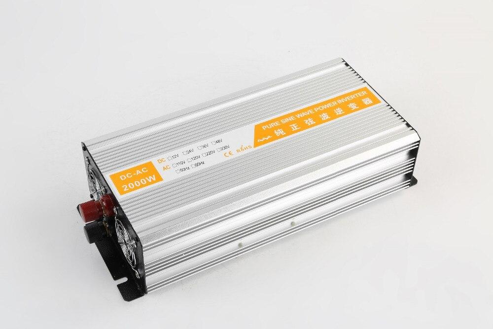 high frequency dual digital Display 2000W Pure Sine Wave Solar Power Inverter Off Grid dc12v/24v input to ac220v output plastic car dc12v 24v to ac220v power inverter with usb port black