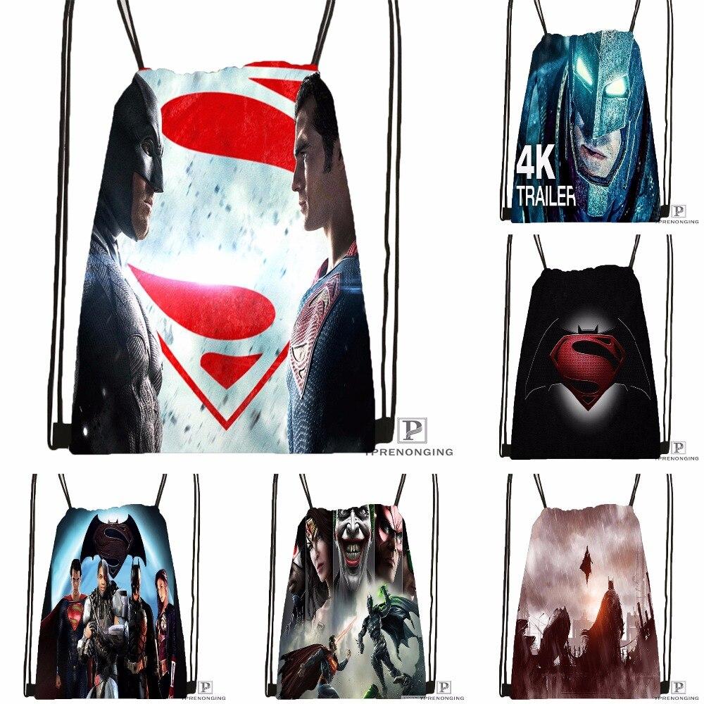 Custom Superman Vs Batman Drawstring Backpack Bag Cute Daypack Kids Satchel (Black Back) 31x40cm#180531-04-48