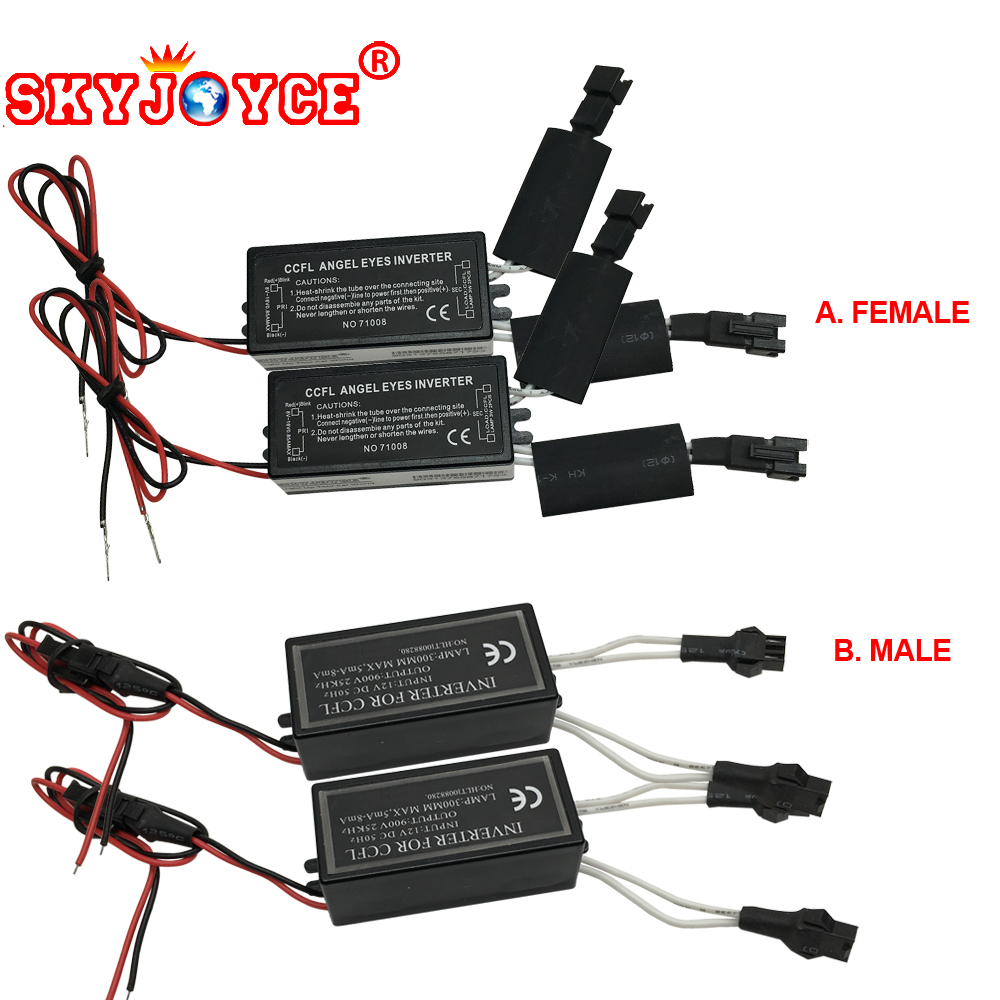 SKYJOYCE 1 Pair Female Male CCFL Driver Inverter Ignition Power Blocks For Ccfl Angel Eyes E46 E39 E53 Drl Driver Projector Lens