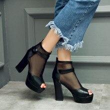 2016แพลตฟอร์มรองเท้าแตะรองเท้าแตะของผู้หญิง- สูงส้นรองเท้าส้นหนาเปิดนิ้วเท้าในช่วงฤดูร้อนผู้หญิงที่เซ็กซี่ของตื้นปากตาข่ายรองเท้ารองเท้าข้อเท้าเย็น