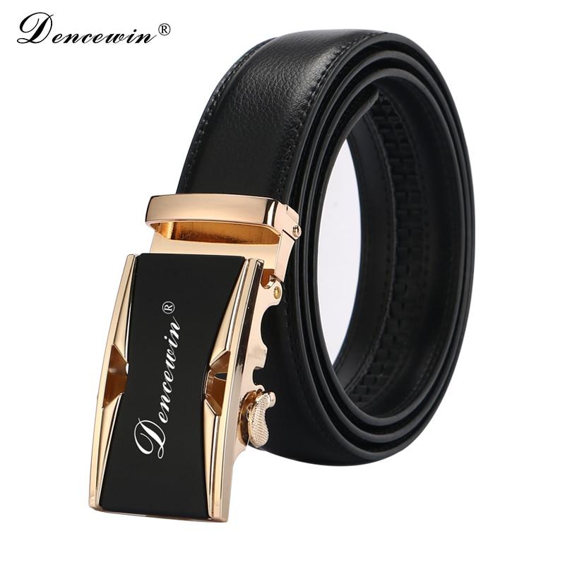 Envío gratis 2019 hombres fashion100% Cinturones de cuero genuino para los hombres de alta calidad de metal hebilla automática Correa masculina vaqueros vaquero