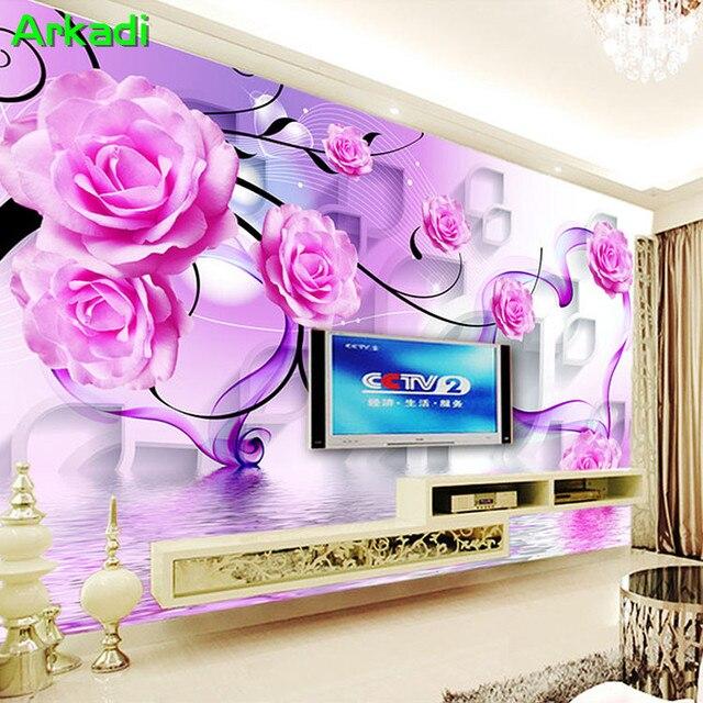 3D fantasy romantic purple rose reflection TV background wall living ...