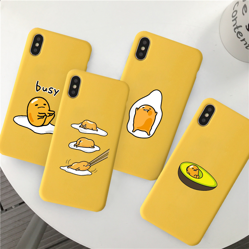 JAMULAR Cute Gudetama Lazy Egg Phone Case For IPhone 7 XS MAX X XR 8 6 6s Plus Novelty