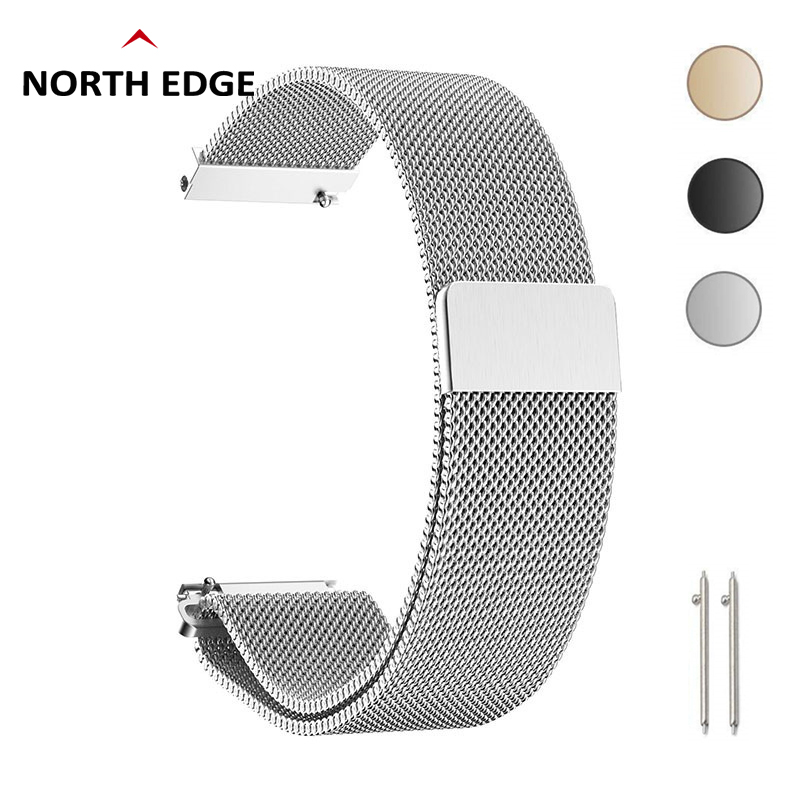 For North Edge R1 R2 Watch Bands Straps 20mm Loop Milanese Strap Stainless Steel Quick Release For Gear S2 Amazfit
