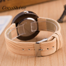 CocoShine A-838 Style Wood Grain Leather Quartz Watch Women Dress Wristwatches Men Watch wholesale Free shipping