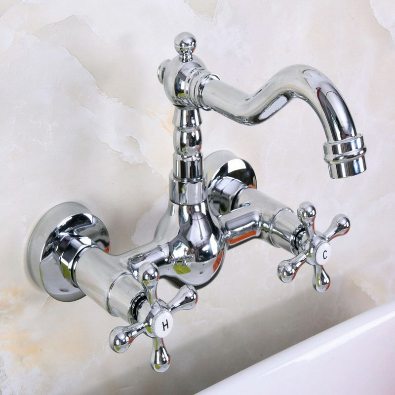 Polished Chrome Brass Wall Mounted Double Cross Handles Bathroom Kitchen Sink Faucet Mixer Tap Swivel Spout anf968
