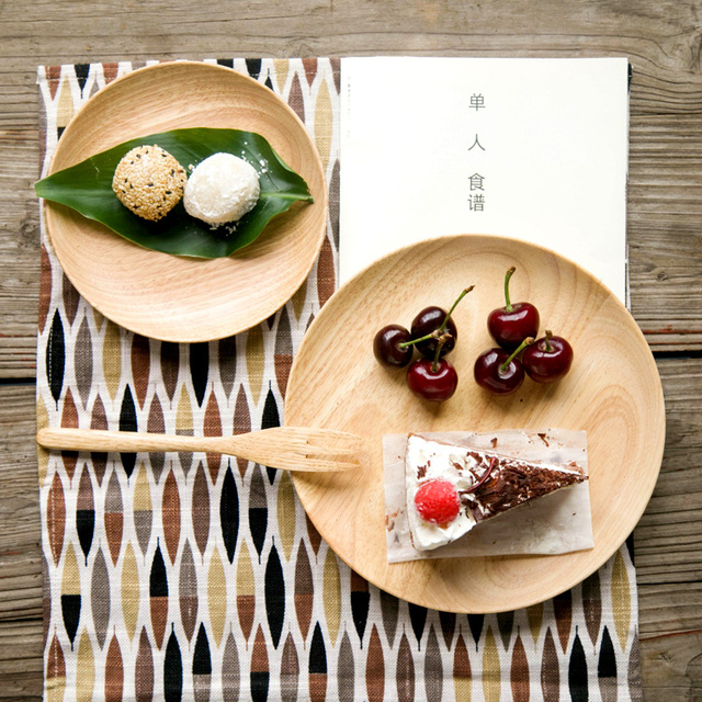 Japan Style zakka wooden dishes plates tableware brief decorative dessert japanese food sweets plate dish kitchen & Japan Style zakka wooden dishes plates tableware brief decorative ...