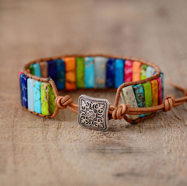 Chakra Beaded Leather Wrap Bracelet
