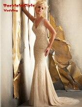 BacklakeGirls 2017 Elegant Custom Made V-neck Applique Beaded Crystal Mermaid Wedding Dresses For Bride