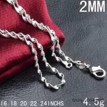 "35cm-80cm Thin 925 Sterling Silver Twisted Singapore Water Wave Chain Link Necklaces Women Girls Kids Child Jewelry Kolye 16-24""(China)"