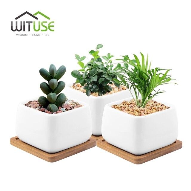 Wituse 4pcs For Flower Pot Planter White Ceramic Flower Pot Indoor