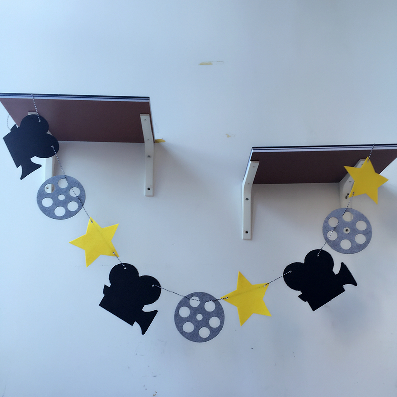 Partywakaka Movie Star Hollywood Camera 3 Meter Felt Banner Flag Birthday Wedding Party Decoration Bunting supply fabric image