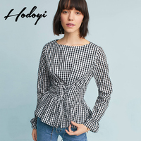 Korean Fashion Clothing Checkered Shirt Simple Long Sleeve Plaid Blouse Plus Size Tops Camisa Xadrez Gingham