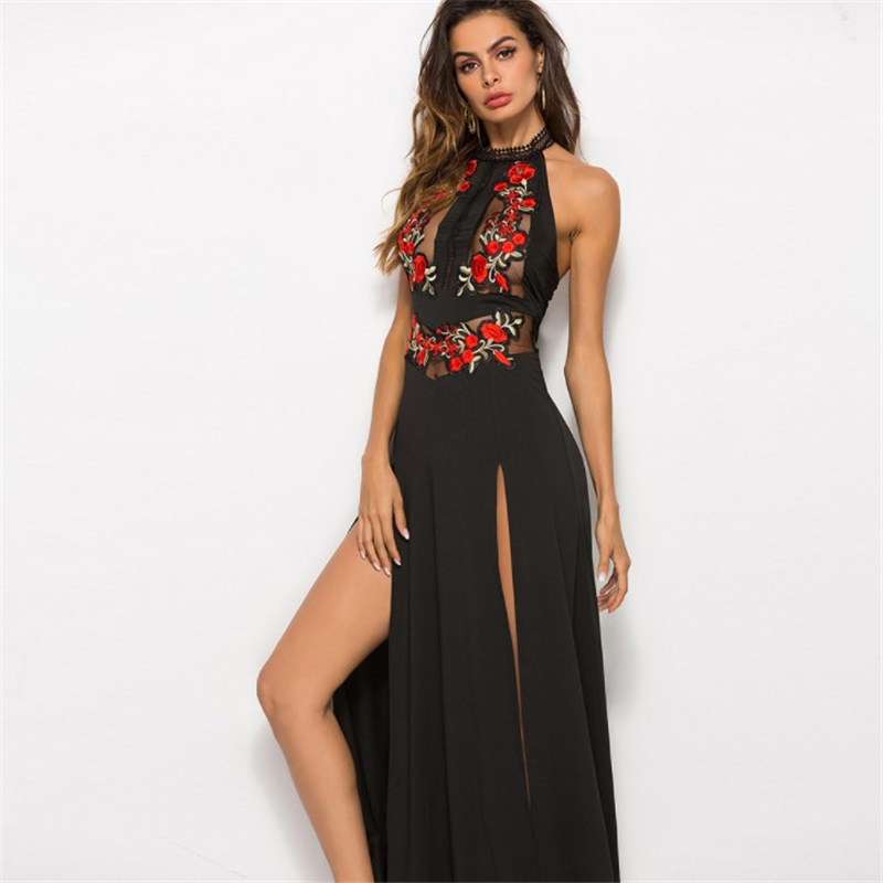 Women Summer Sexy Mesh Beach Long Dress Casual Party Boho Club Sleeveless Embroidery Hollow Out Backless
