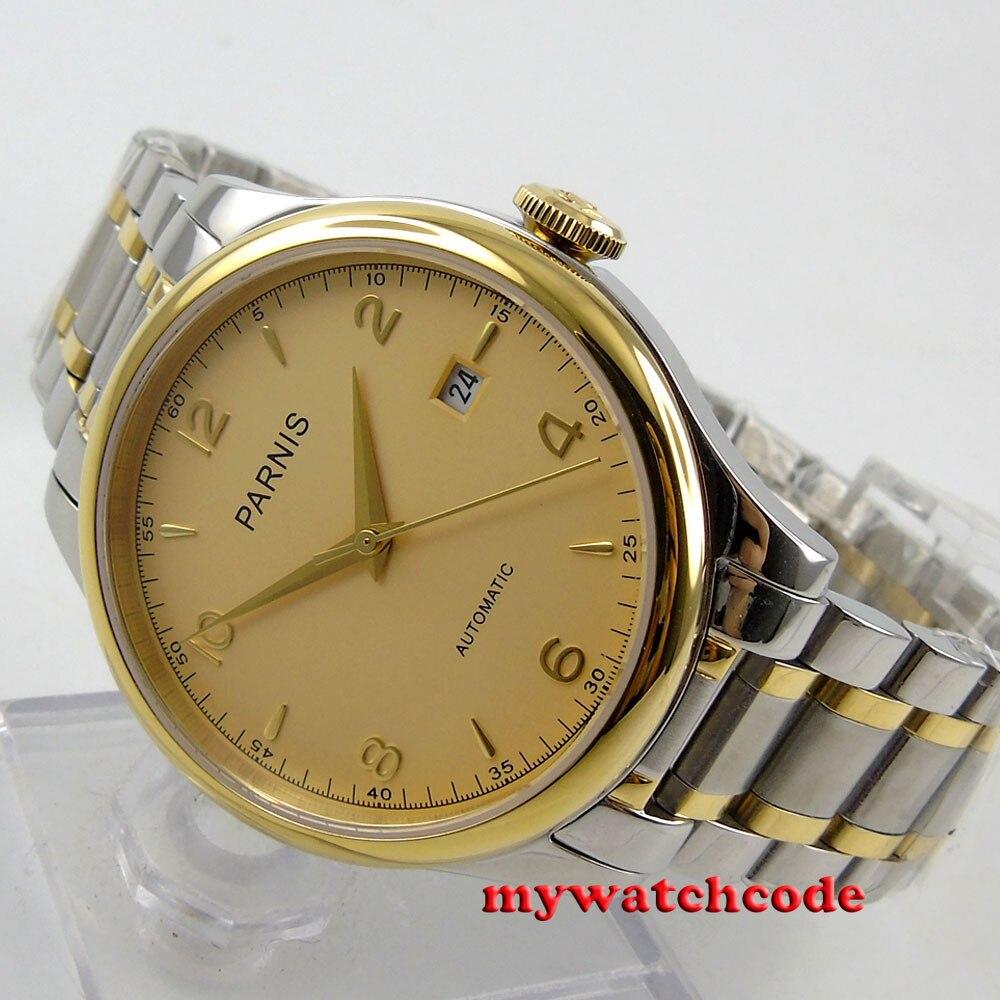 bae2286f3853 Великолепный 38 мм Парнис золотой циферблат сапфировое Стекло Miyota  Автоматическая Мужские часы P596