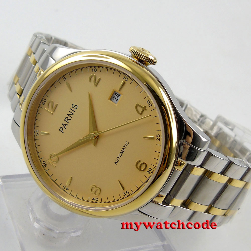 gorgeous 38mm Parnis golden dial Sapphire Glass miyota Automatic mens Watch P596 38mm parnis white dial date sapphire glass miyota automatic mens watch p723