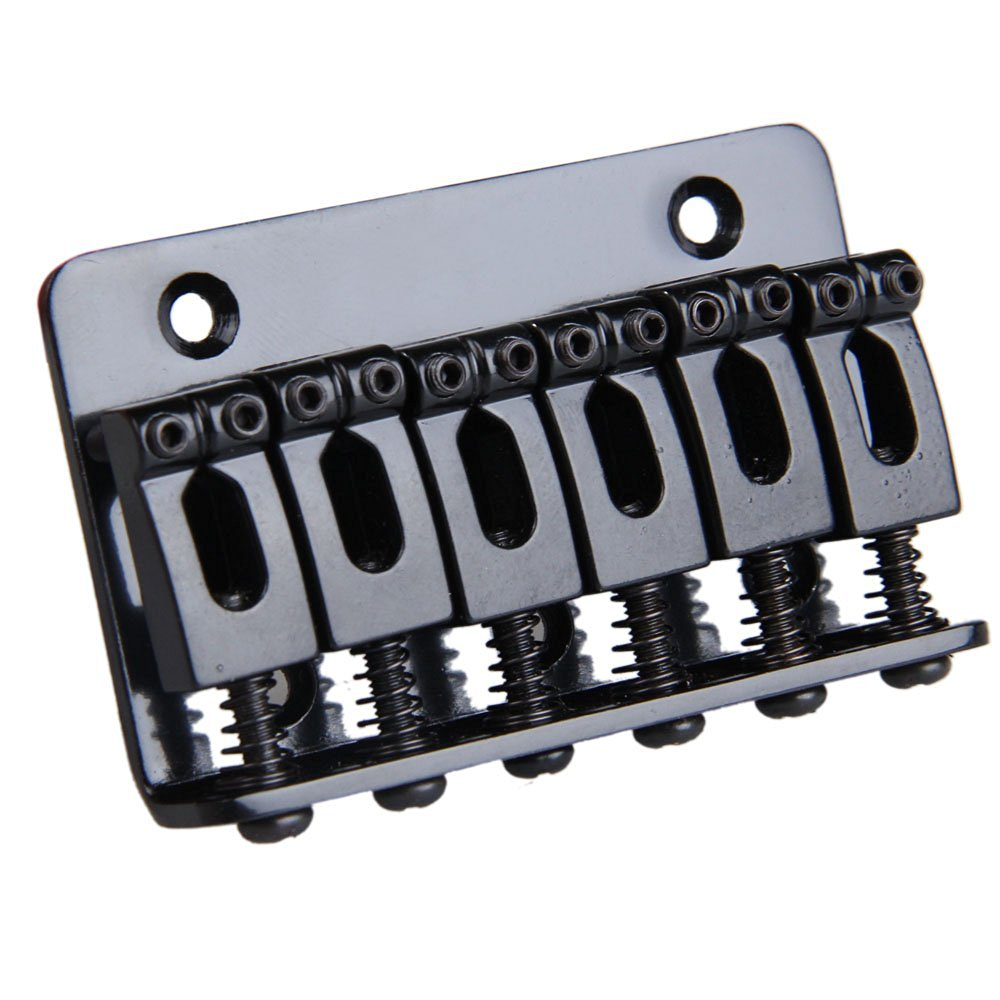 12pcs (6 Saddle Hardtail Bridge Top Load 65mm Electric Guitar Bridge (Black) black 6 saddle hardtail bridge top load 65mm electric guitar bridge b2c shop