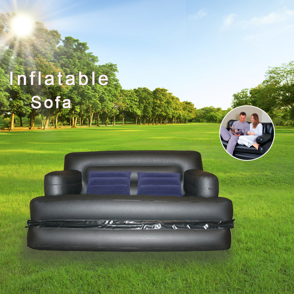 Foldable Inflatable Sofa Leather Folding Wear-resistant Home Furniture Sofa Bedroom Portable Camping Bed for 2 PersonFoldable Inflatable Sofa Leather Folding Wear-resistant Home Furniture Sofa Bedroom Portable Camping Bed for 2 Person