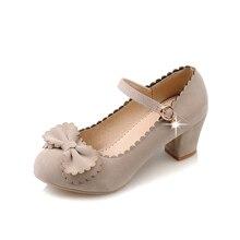 ผู้หญิงหนัง,แพลตฟอร์ม,เลดี้แฟชั่นรองเท้าโลลิต้าเซ็กซี่โบว์ส้นสูงผู้หญิงปั๊มของผู้หญิงรองเท้าแต่งงานขนาด34-43