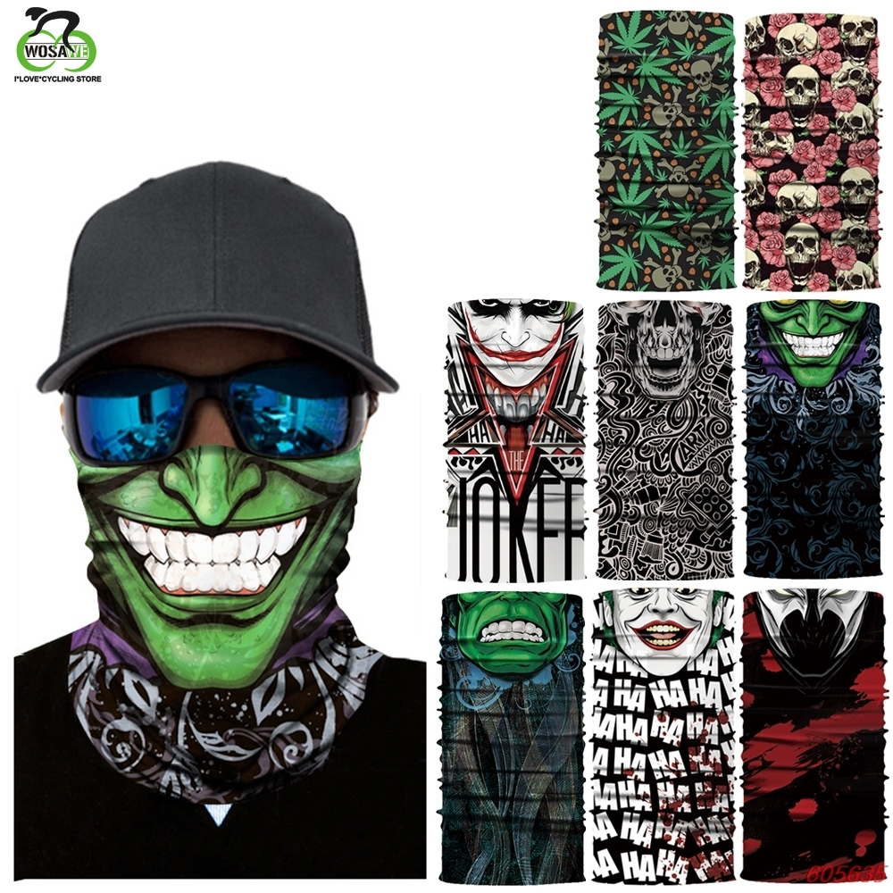 Bike Half Face Mask Skull Breathable Anti-UV Windproof Cycling Face Mask Neck Bicycle Snowboard Ski Balaclava Mask