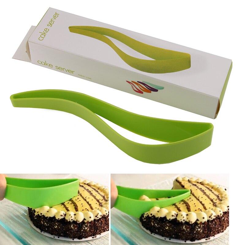 Green Plastic Cake Pie Slicer Sheet Guide Cutter Server Bread Slice Knife Kitchen Baking Tools