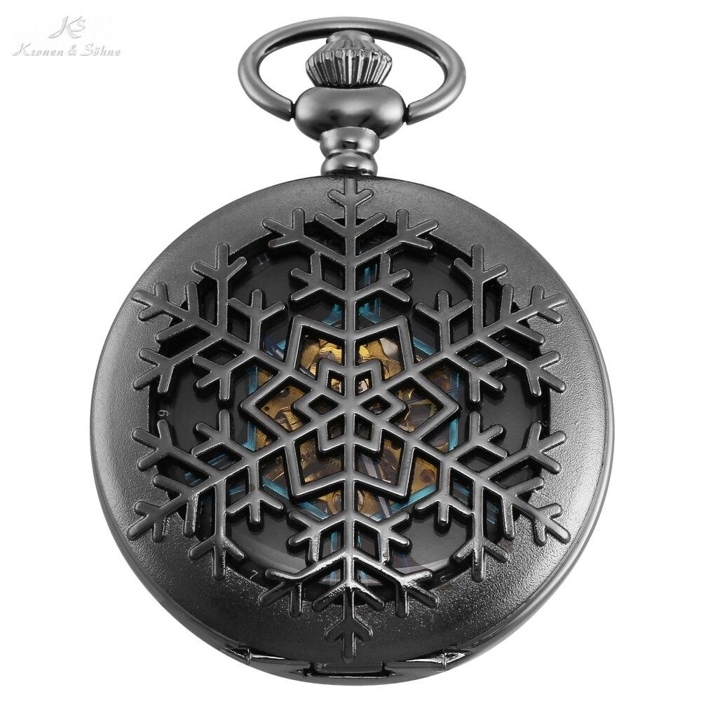 KS Original Carving Snow Case Roman Key Clip Pendant Men Hexagon Analog Black Mechanical Pocket Watch Vintage Clock Gift /KSP102 dad carving vintage pocket watch