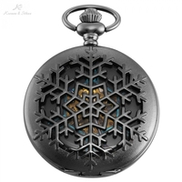 KS Original Carving Snow Case Roman Key Clip Pendant Men Hexagon Analog Black Mechanical Pocket Watch Vintage Clock Gift /KSP102