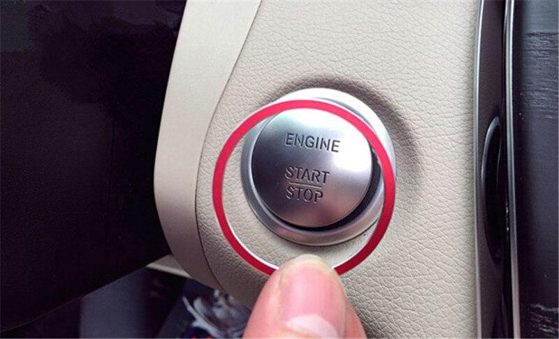 Carbon Fiber Black LANZMYAN Car Engine Start Stop Button Cover Trim for Mercedes Benz New C-Class GLC C200L GLA200L