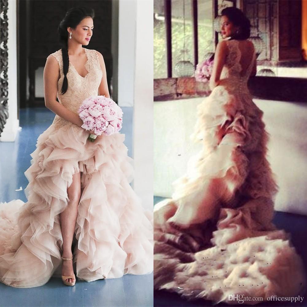Pink wedding dress 2017 organza ruffles tail blush country for Pink wedding dresses 2017