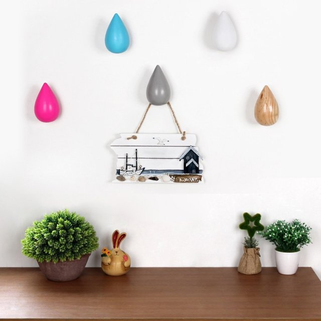 Wooden Decorative Wall Mounted Bedroom Foyer Water Drop Shaped Coat Hooks  Hat Hangers 2 Sizes U0026