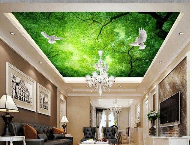 3d Malowidla Tapety Sufit Zielony Niebo Drzewa Las Sufitu Murale