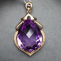 Fine Jewelry Customized Collection Real 18K Rose Gold 100% Natural Amethyst Gemstone Pendant Necklace