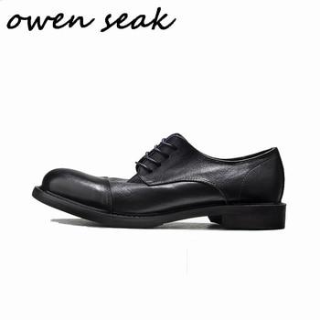 Owen Seak Men Dress Shoes Luxury Trainers Cow Leather Spring Adult Male Autumn Lace Up Brand Flats Black Shoes