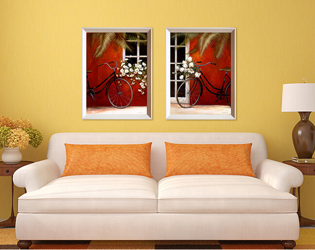 Vintage Bike White Flowers Red Background Group Painting Canvas ...