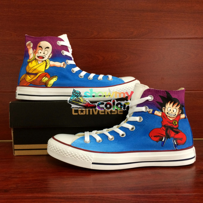 Converse All Star Hand Painted Shoes Dragon Ball Goku Krillin Design Custom High Top font b