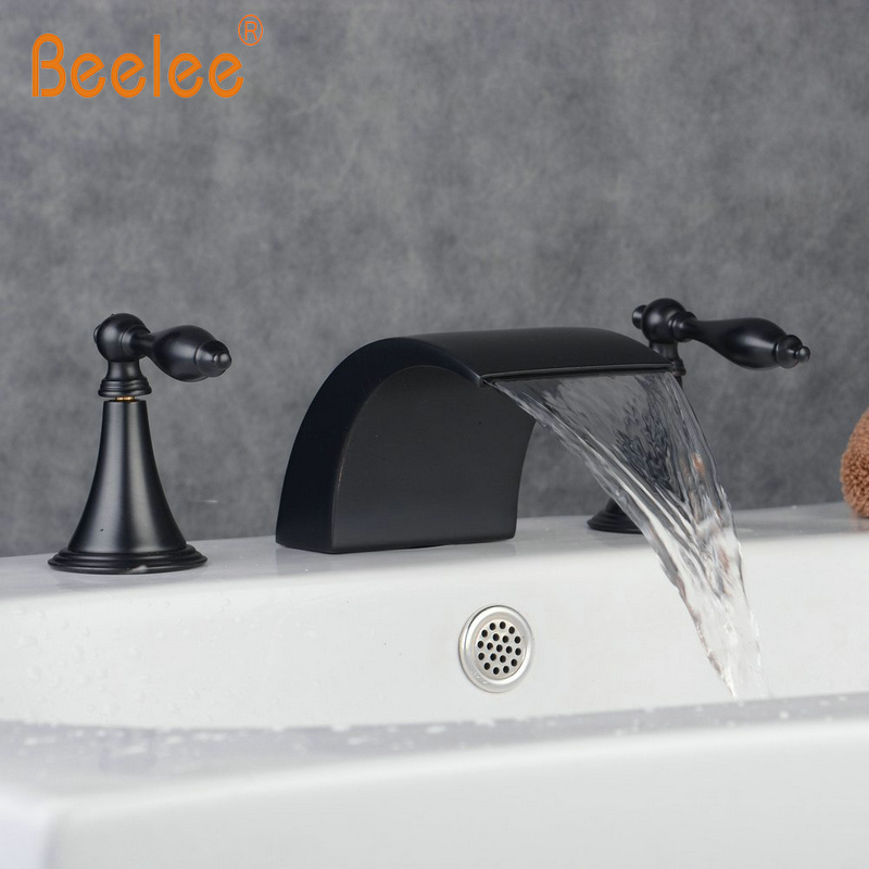 Us 62 71 39 Off Two Handles 3 Holes Widespread Waterfall Bathroom Sink Faucet Oil Rubbed Bronze Tap Bathtub In Basin Faucets From