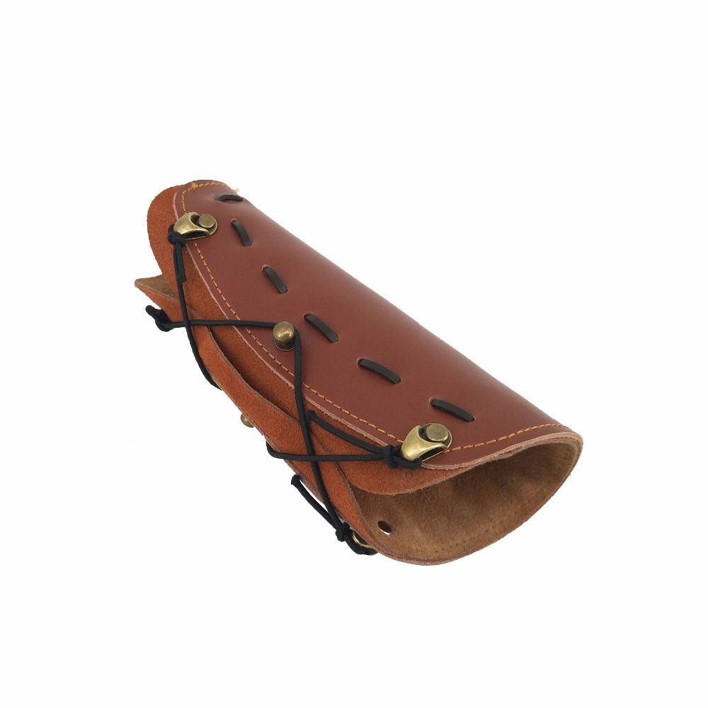 Cowhide Genuine Leather Adjustable archery Arm Guard Protection Accessory For Hunting Practice Protection Safe Strap Armband