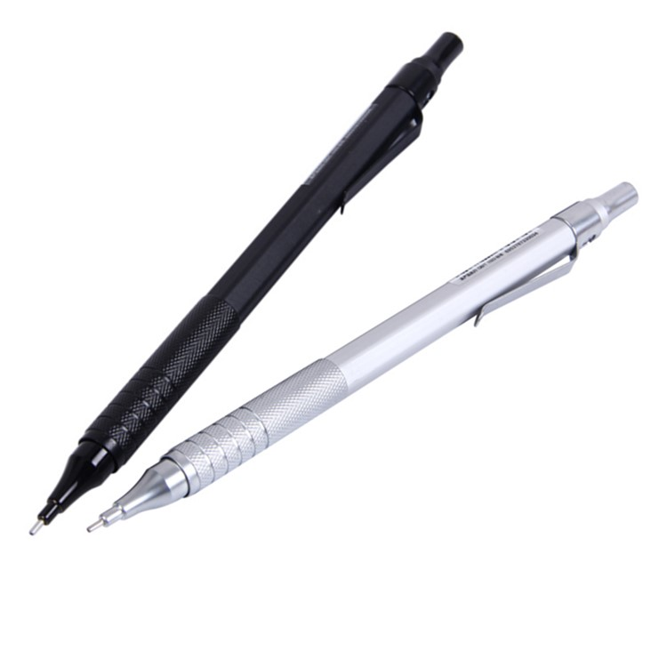 Automatic Drafting Pencil, 0.5mm Lead Size, Metallic Black Sliver Barrel Mechanical Pencil 1 Piece