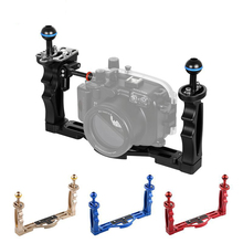 CNC Aluminum Alloy Dual Handgrips with Ball Head Adaptor for Diving Flash Lights Handheld Stabilizer Canon Nikon DSLR Camera