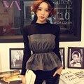 VOGUE SIS Korean Knitted Women Shirt Long Sleeve Wrap Chest  Patchwork Fashionable Women Shirt Winter Femme Clothes Wholesale