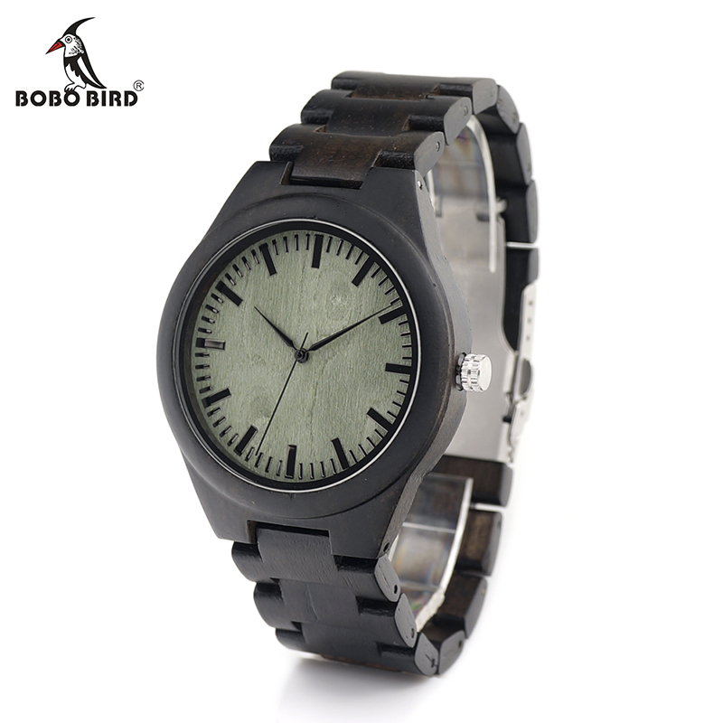 BOBO BIRD V-H03 Mens Green Wooden Dial Wooden Links Quartz Wristwatch Black Leather Strap Available relogios masculinos luxury brand bobo bird men watches wooden quartz wristwatch genuine leather strap relogios masculinos b m14